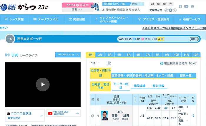 ボートレース唐津のモーター評価ランキング【モーター情報まとめ】