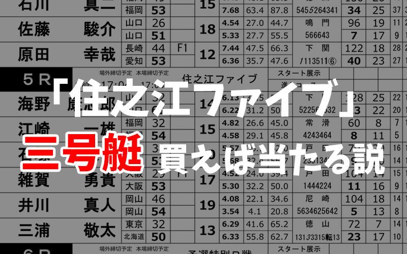 【競艇】住之江ファイブは3号艇に注目すれば簡単に当たる!?
